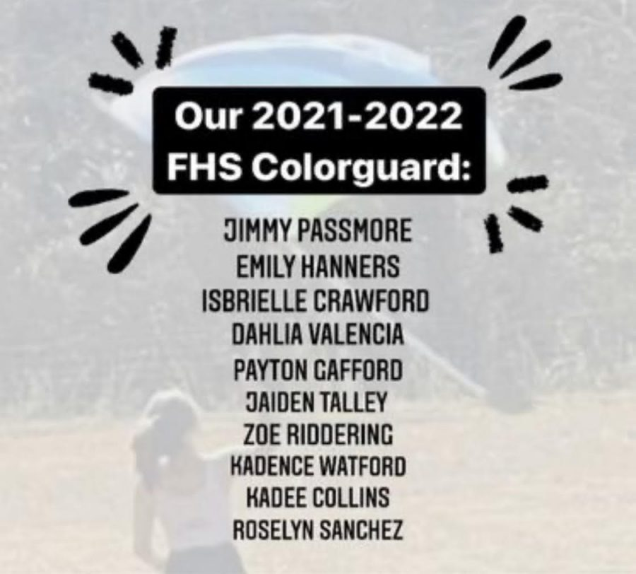 2021-2022 Marching Panthers Color Guard